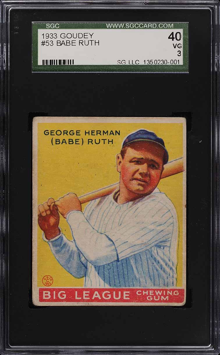 1933 Goudey Babe Ruth #53 SGC 3 VG (PWCC) - Image 1