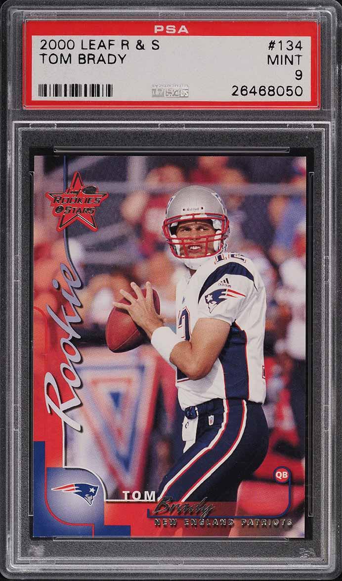 2000 Leaf Rookies & Stars Tom Brady ROOKIE RC /1000 #134 PSA 9 MINT - Image 1
