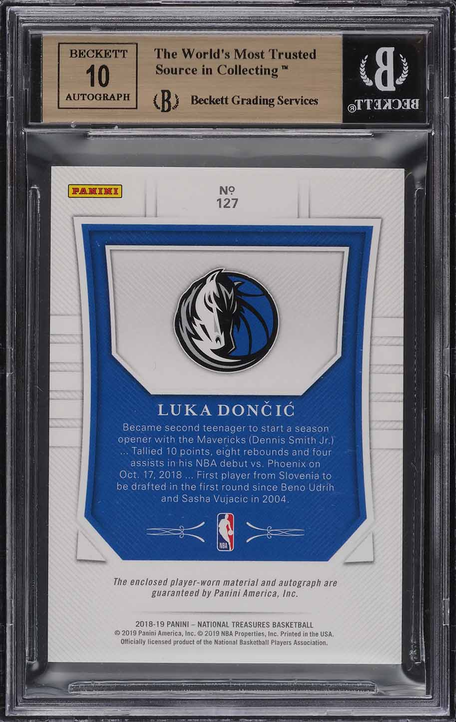 2018 National Treasures Luka Doncic ROOKIE RC PATCH AUTO /99 #127 BGS 9.5 GEM - Image 2