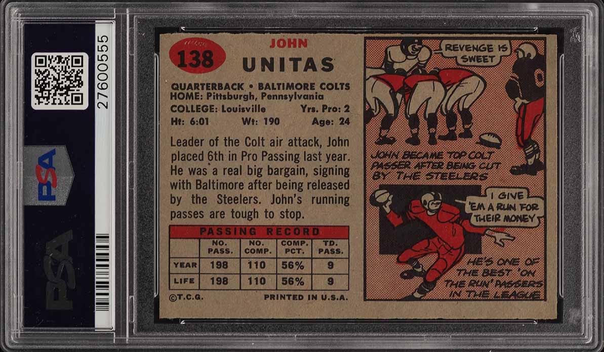 1957 Topps Football Johnny Unitas ROOKIE RC #138 PSA 8.5 NM-MT+ (PWCC) - Image 2