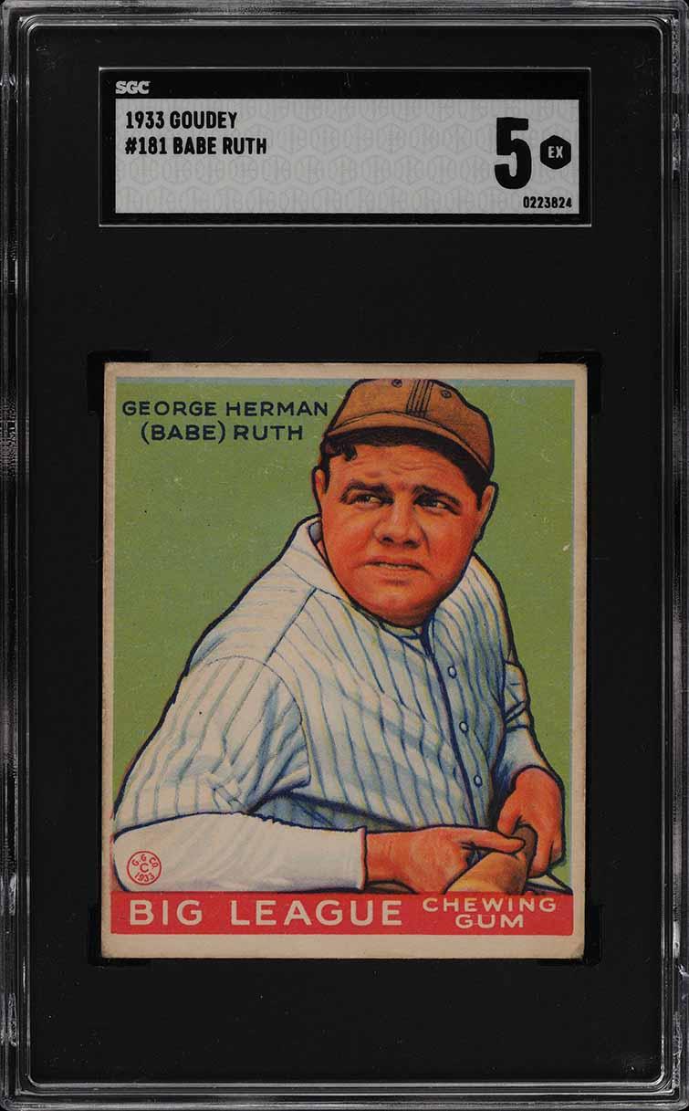 1933 Goudey Babe Ruth #181 SGC 5 EX (PWCC) - Image 1