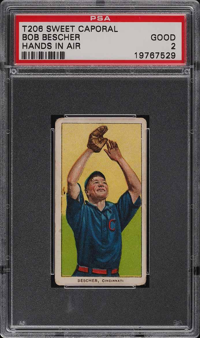 1909-11 T206 Bob Bescher HANDS IN AIR PSA 2 GD (PWCC) - Image 1