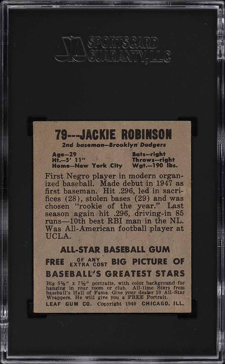 1948 Leaf Jackie Robinson ROOKIE RC #79 SGC 6 EXMT - Image 2