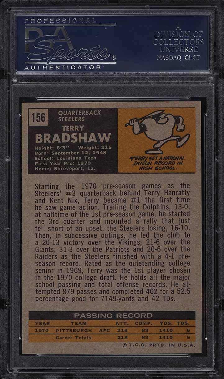 1971 Topps Football Terry Bradshaw ROOKIE RC #156 PSA 9 MINT - Image 2
