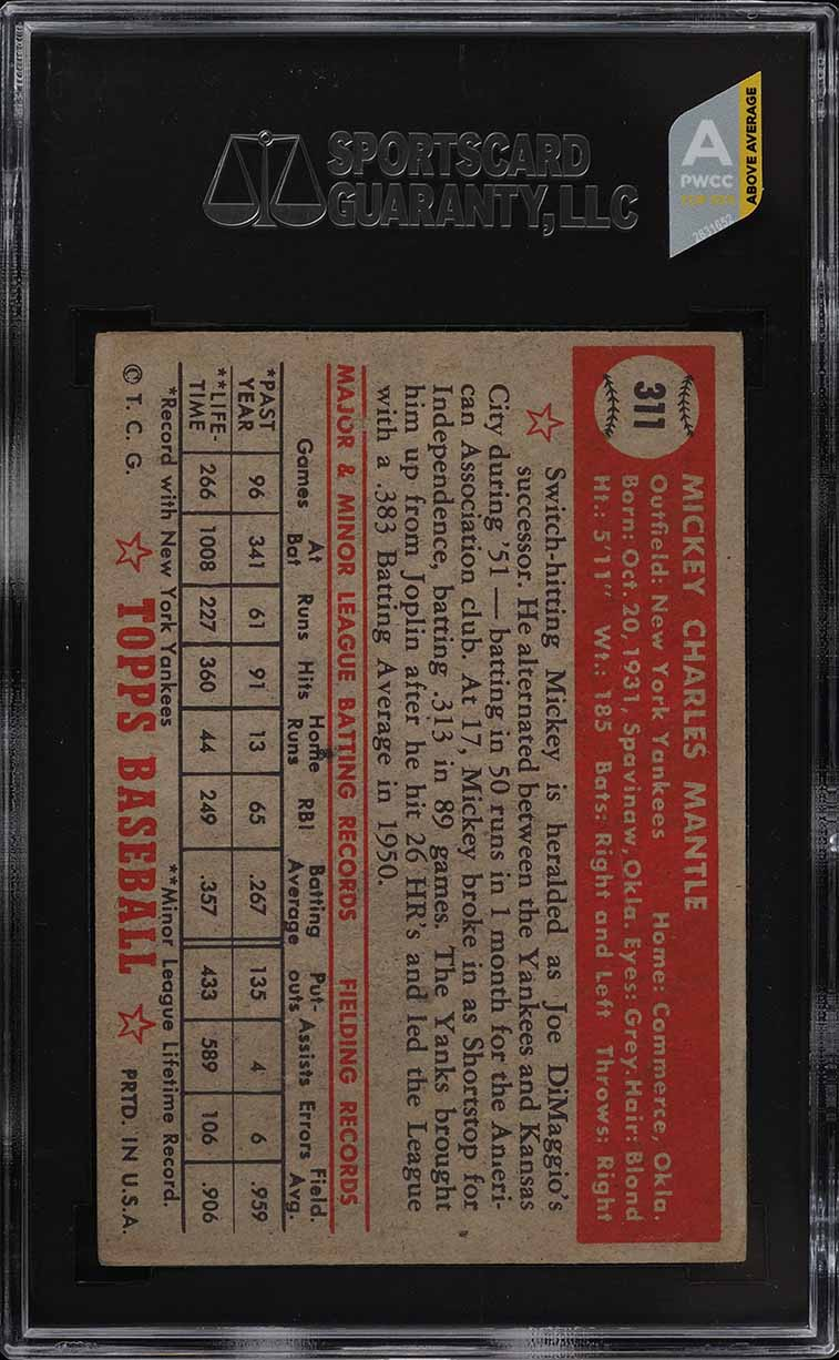 1952 Topps Mickey Mantle #311 SGC 1.5 FR (PWCC-A) - Image 2