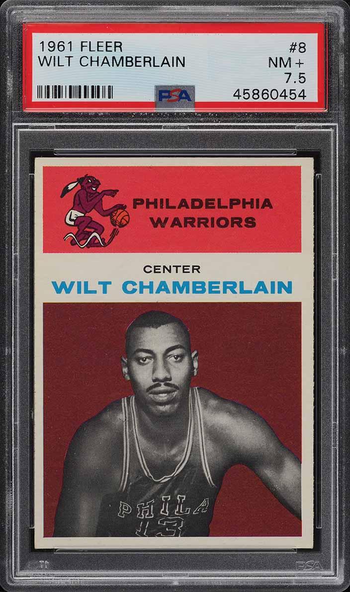 1961 Fleer Basketball Wilt Chamberlain ROOKIE RC #8 PSA 7.5 NRMT+ - Image 1