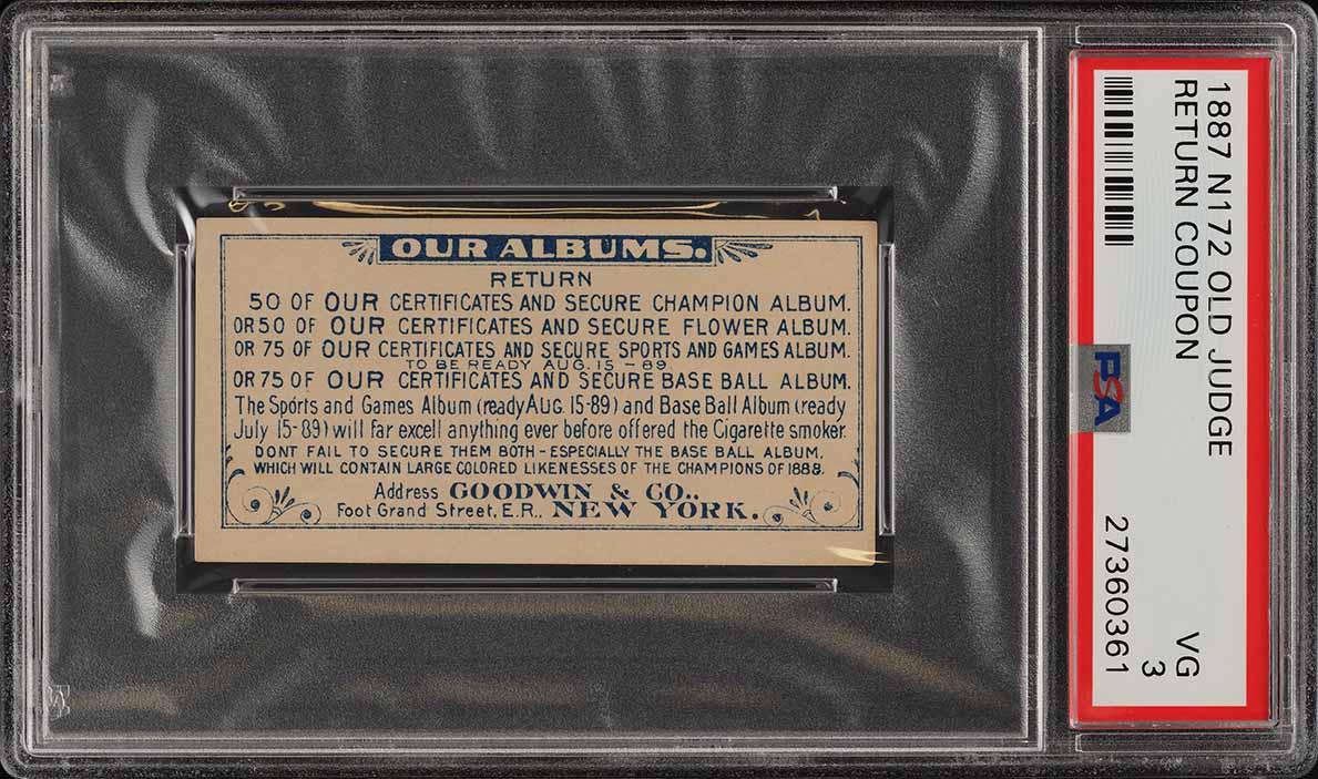 1887 N172 Old Judge Return Coupon PSA 3 VG (PWCC) - Image 1