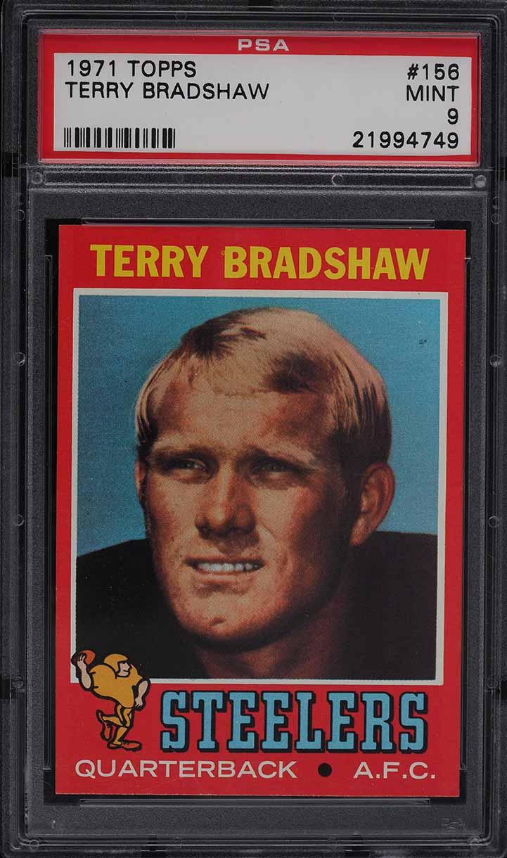 1971 Topps Football Terry Bradshaw ROOKIE RC #156 PSA 9 MINT - Image 1