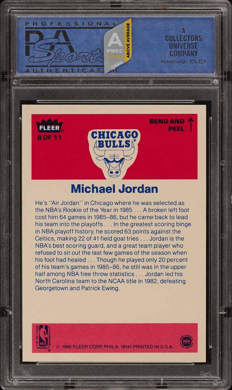 1986 Fleer Sticker Michael Jordan ROOKIE RC #8 PSA 10 GEM MINT (PWCC-A) - Image 2