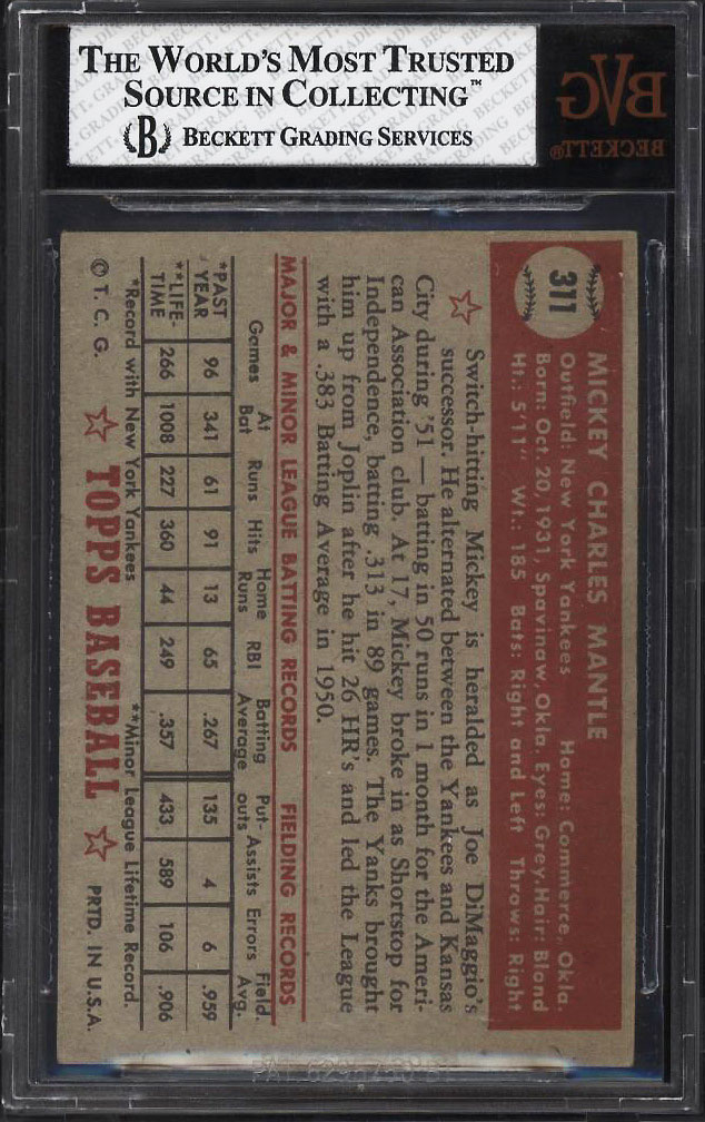 1952 Topps Mickey Mantle #311 BVG 4.5 VGEX+ (PWCC) - Image 2