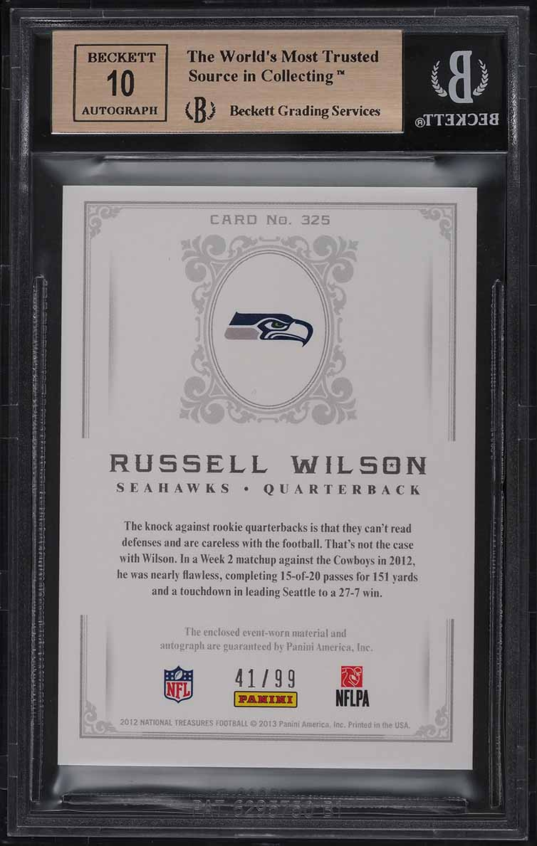 2012 National Treasures Russell Wilson ROOKIE RC PATCH AUTO /99 #325 BGS 9.5 GEM - Image 2