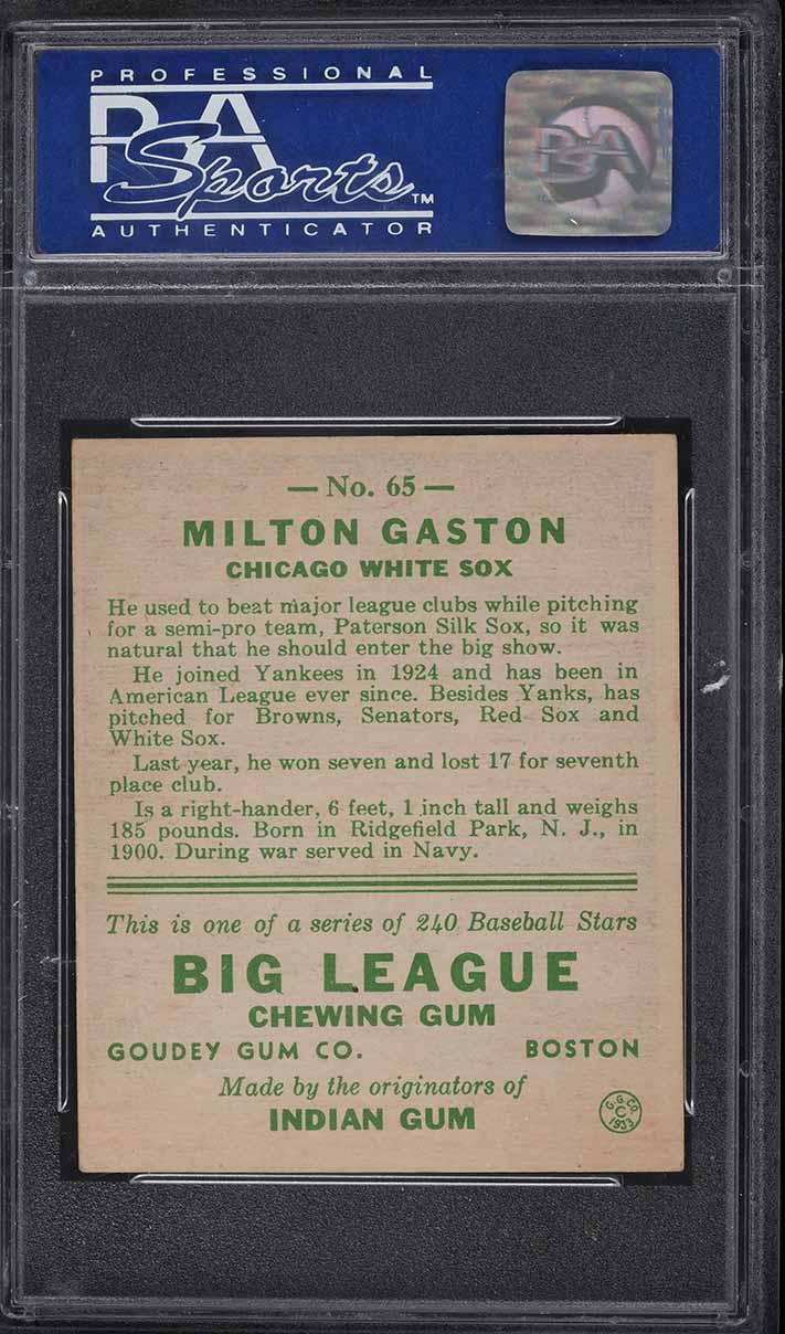 1933 Goudey Milton Gaston #65 PSA 7 NRMT - Image 2