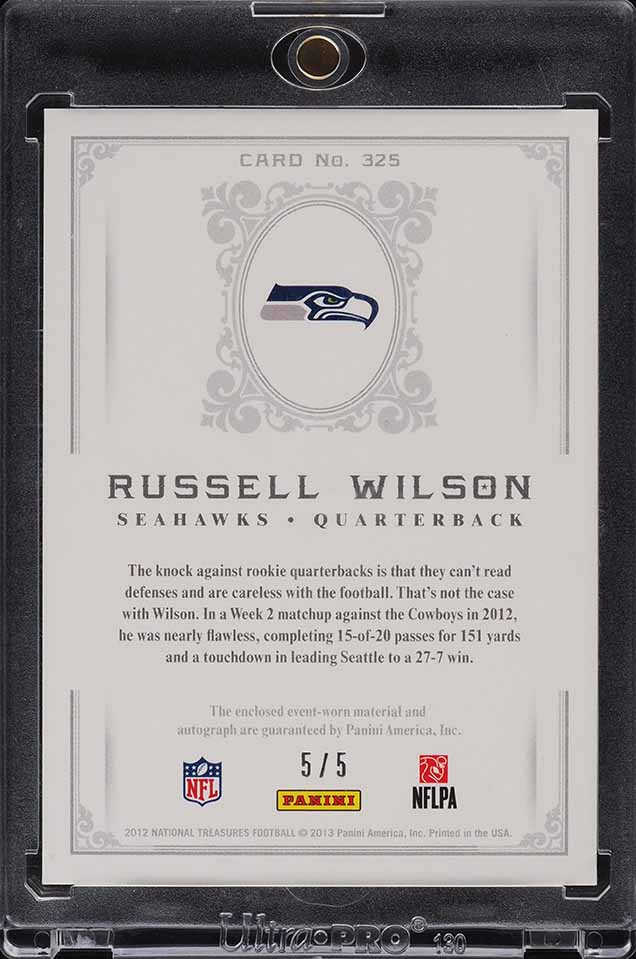 2012 National Treasures Platinum Russell Wilson ROOKIE RC PATCH AUTO 5/5 #325 - Image 2