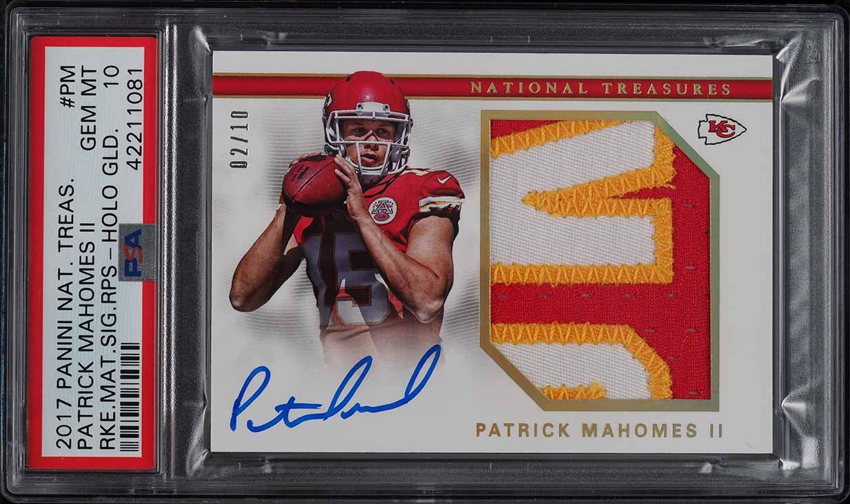 2017 National Treasures Holo Gold Patrick Mahomes II RC PATCH AUTO /10 PSA 10 - Image 1