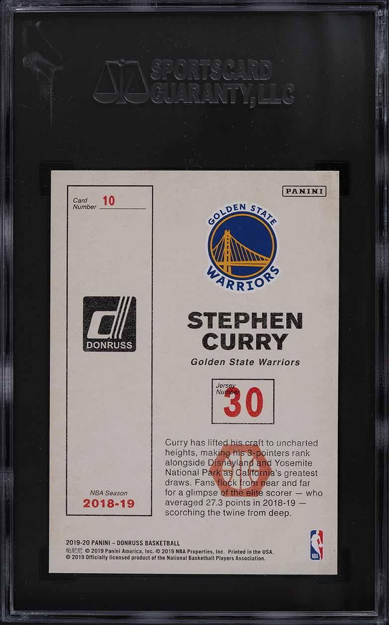 2019 Donruss Craftsman Stephen Curry #10 SGC 9.5 MINT+ - Image 2