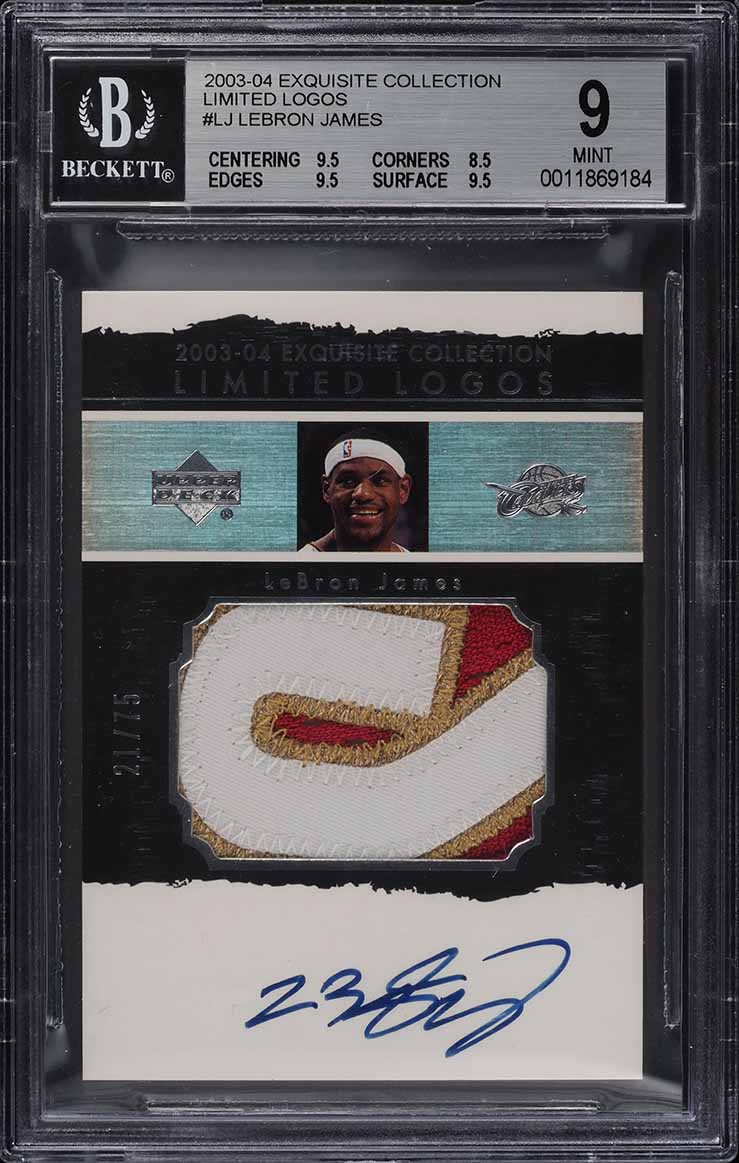 2003 Exquisite Collection Limited LeBron James RC PATCH AUTO /75 BGS 9 MT (PWCC) - Image 1