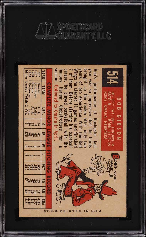 1959 Topps Bob Gibson ROOKIE RC #514 SGC 9 MINT (PWCC) - Image 2