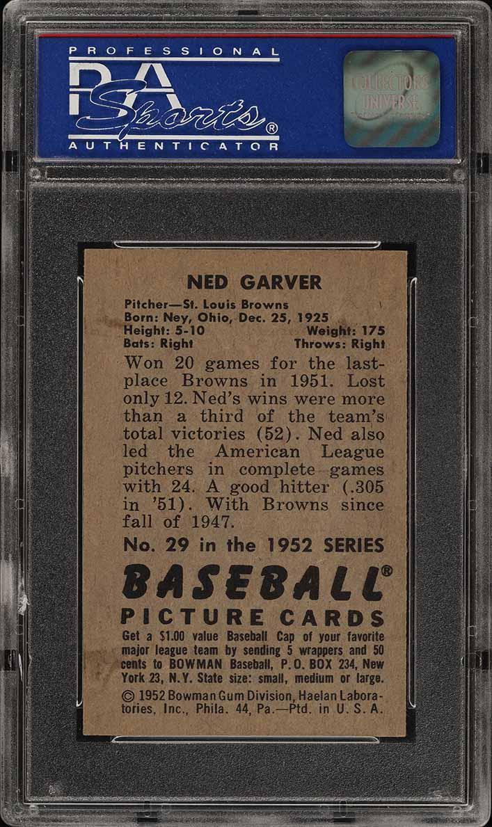 1952 Bowman SETBREAK Ned Garver #29 PSA 8 NM-MT (PWCC) - Image 2