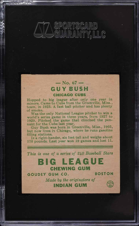 1933 Goudey Guy Bush #67 SGC 6 EXMT - Image 2