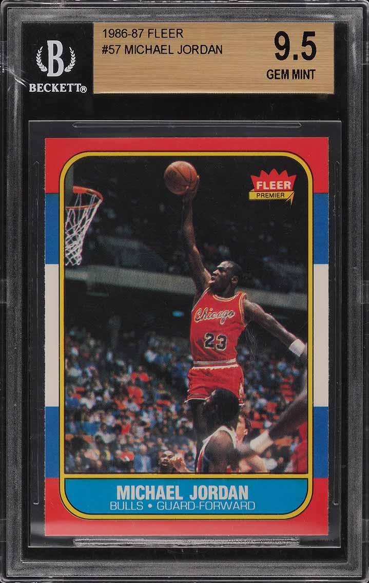 1986 Fleer Basketball Michael Jordan ROOKIE RC #57 BGS 9.5 GEM MINT (PWCC) - Image 1
