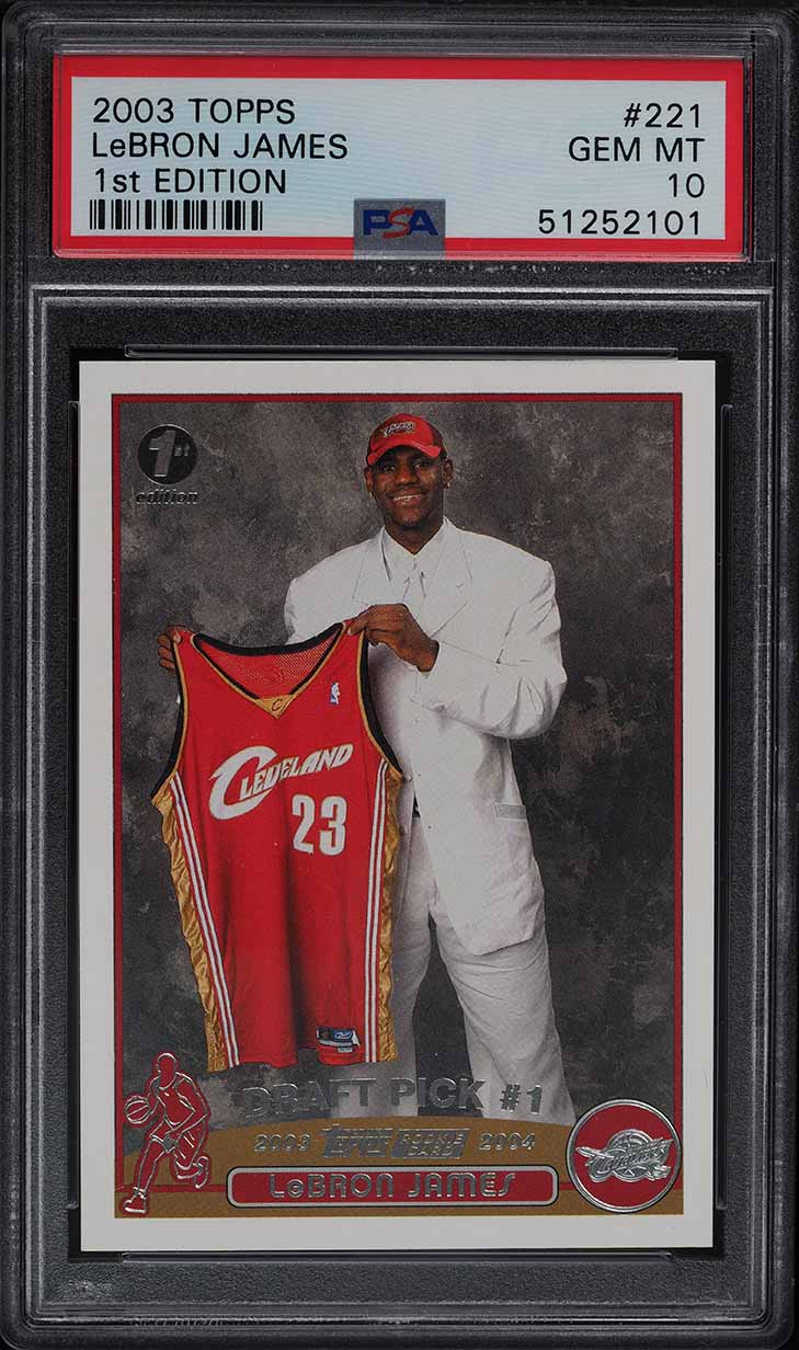 2003 Topps 1st Edition LeBron James ROOKIE RC #221 PSA 10 GEM MINT - Image 1