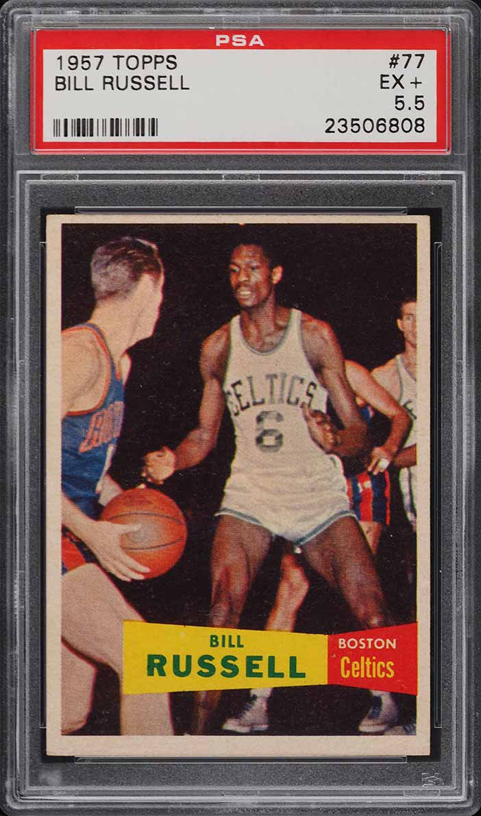 1957 Topps Basketball Bill Russell SP ROOKIE RC #77 PSA 5.5 EX+ - Image 1