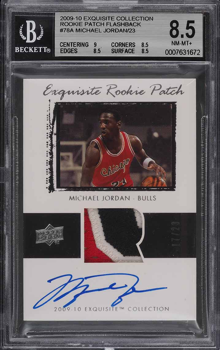2009 Exquisite Rookie Flashback Michael Jordan PATCH AUTO /23 BGS 8.5 (PWCC) - Image 1