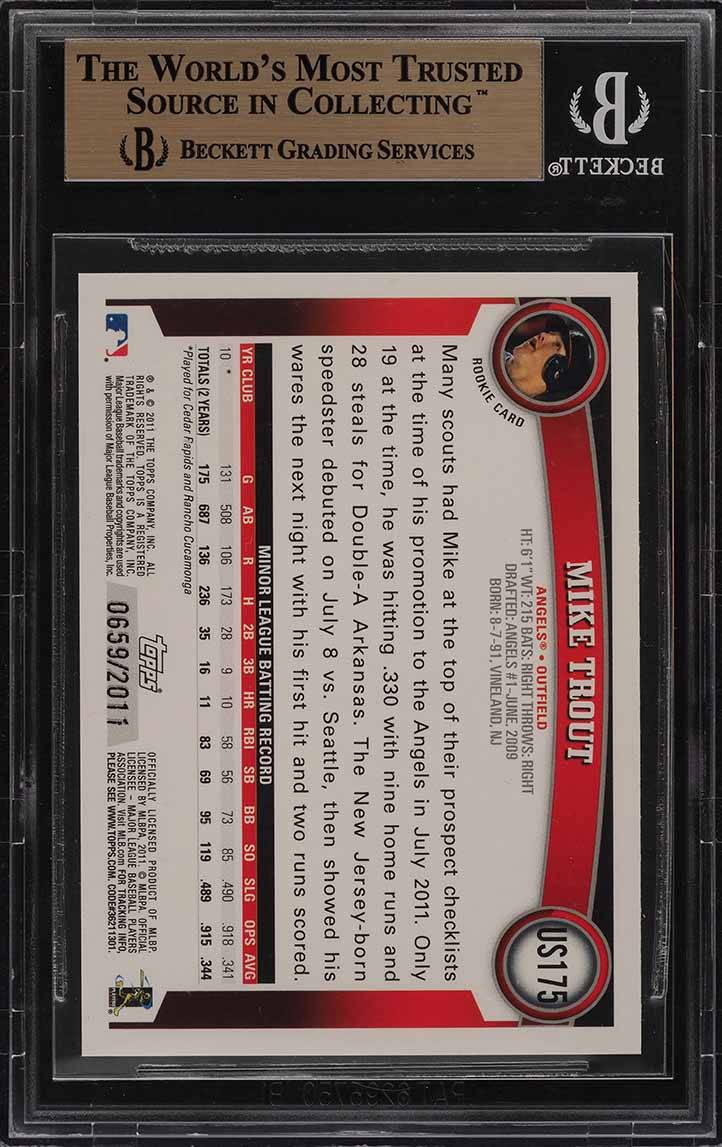 2011 Topps Update Gold Mike Trout ROOKIE RC /2011 #US175 BGS 10 PRISTINE (PWCC) - Image 2