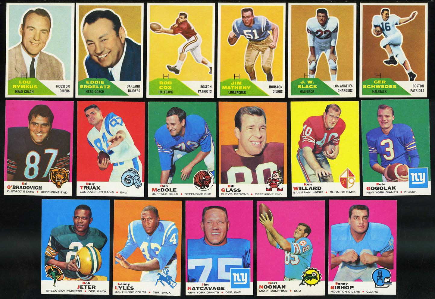 Lot(21) 1960s Football w/ Cox McDole Glass Jeter Lyles McCall, NRMT (PWCC) - Image 1