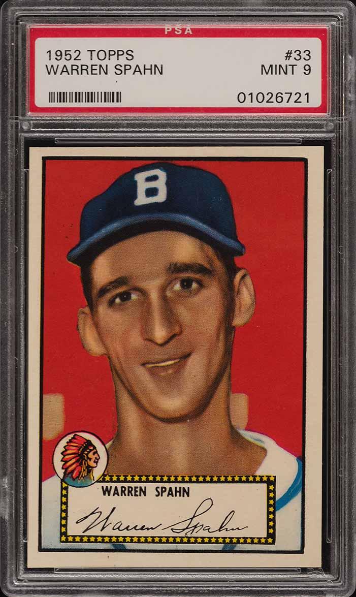 1952 Topps Warren Spahn BLACK BACK #33 PSA 9 MINT (PWCC) - Image 1