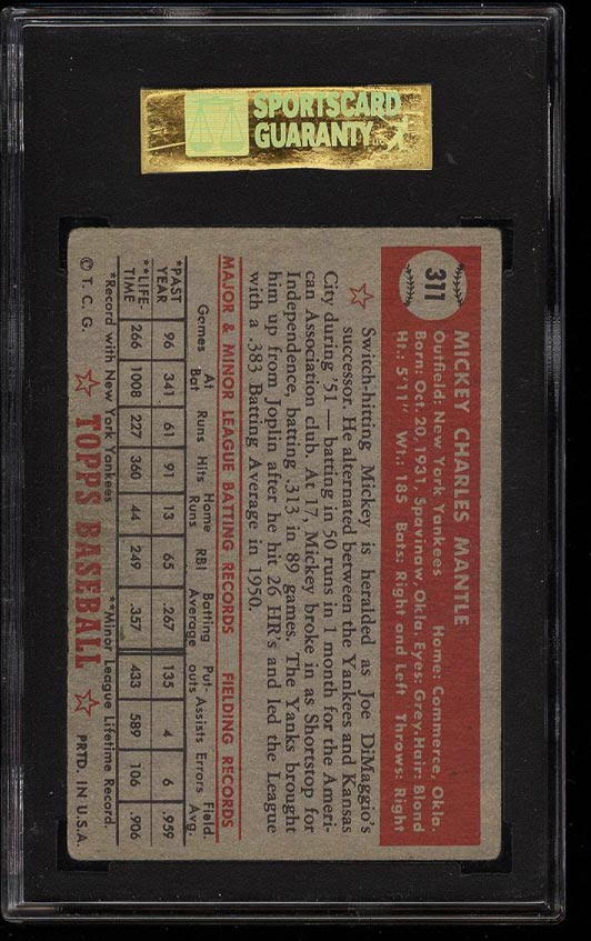 1952 Topps Mickey Mantle #311 SGC 4/50 VGEX (PWCC) - Image 2