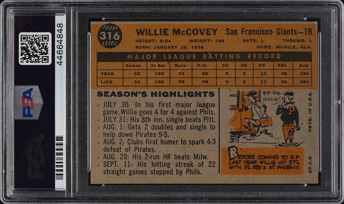 1960 Topps Willie McCovey ROOKIE RC #316 PSA 4 VGEX - Image 2