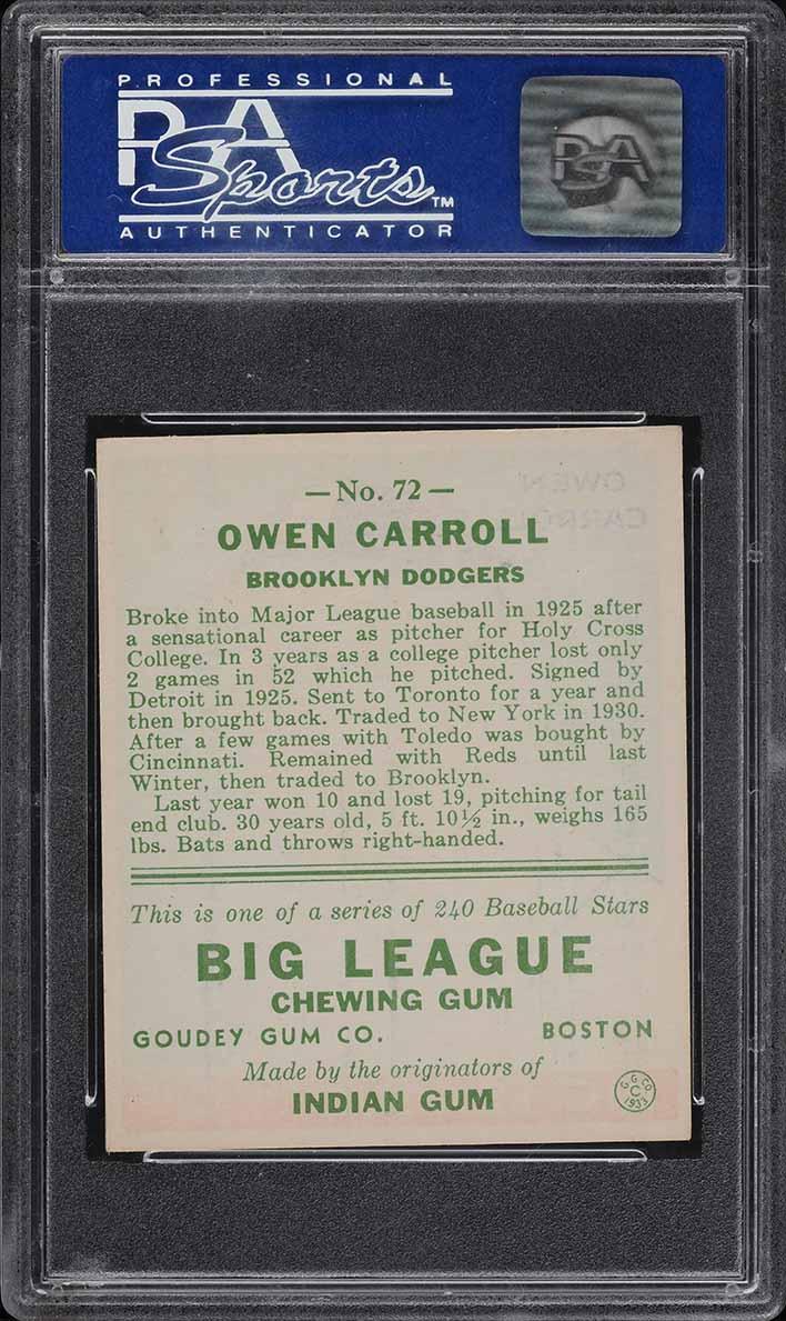 1933 Goudey Owen Carroll #72 PSA 7 NRMT (PWCC) - Image 2