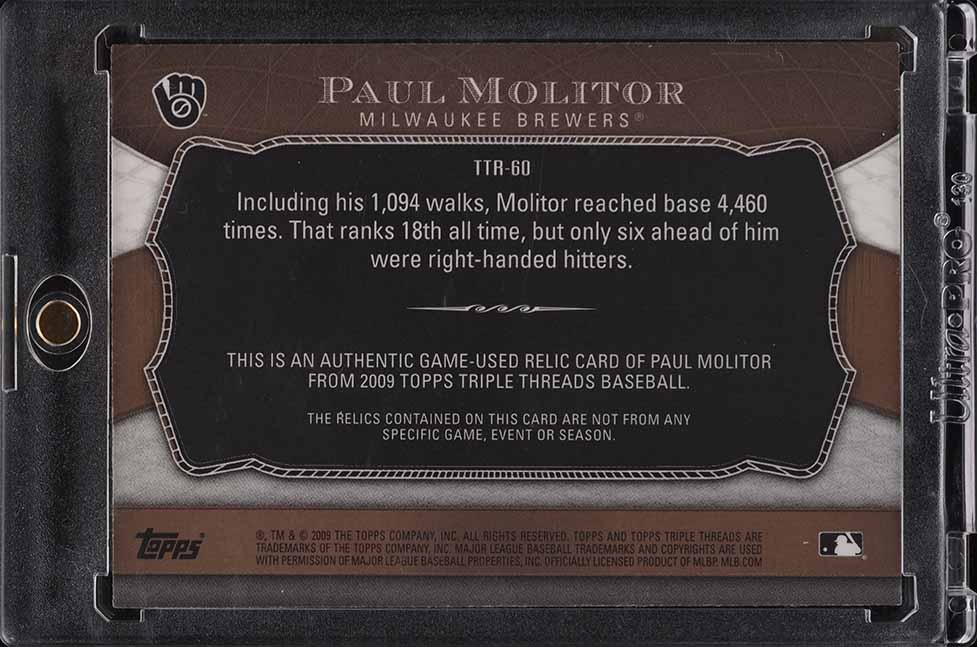 2009 Topps Triple Threads Paul Molitor PATCH /27 #TTR-60 - Image 2