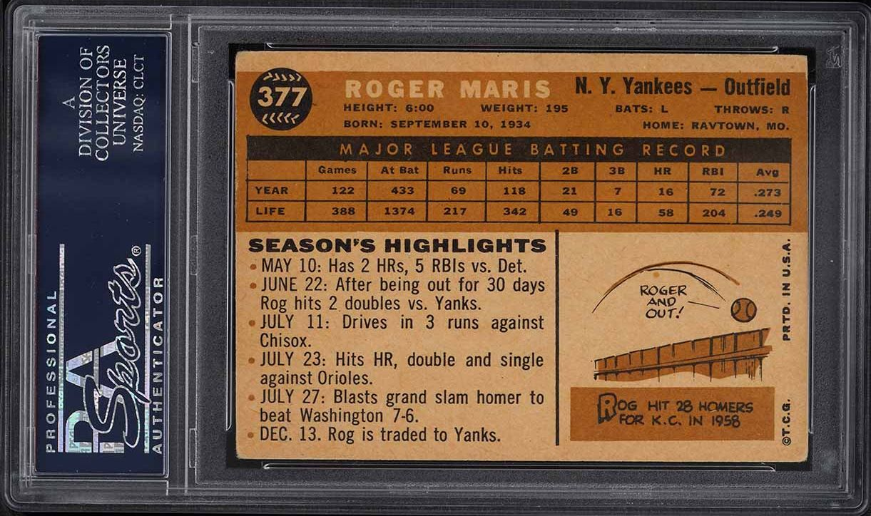1960 Topps Roger Maris #377 PSA 3 VG - Image 2