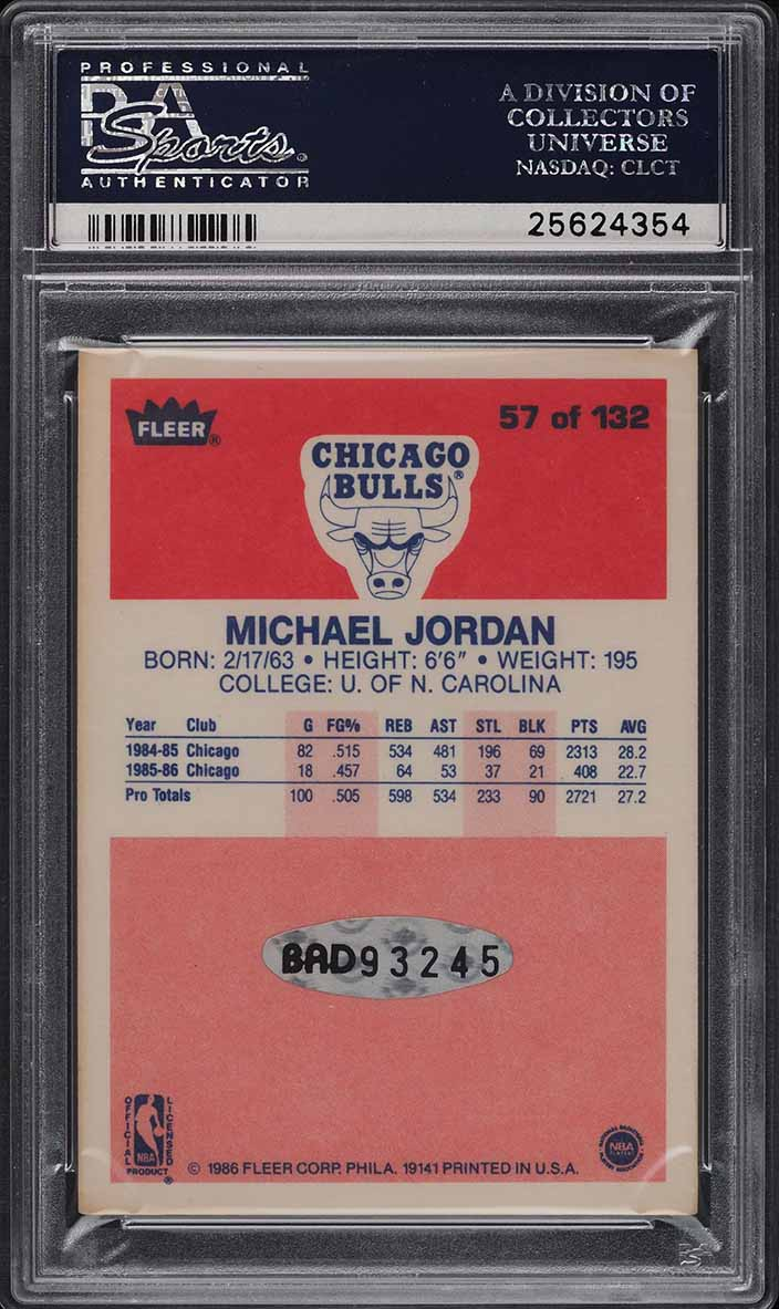1986 Fleer Michael Jordan ROOKIE RC SIGNED PSA/DNA AUTO #57 PSA Auth UDA (PWCC) - Image 2