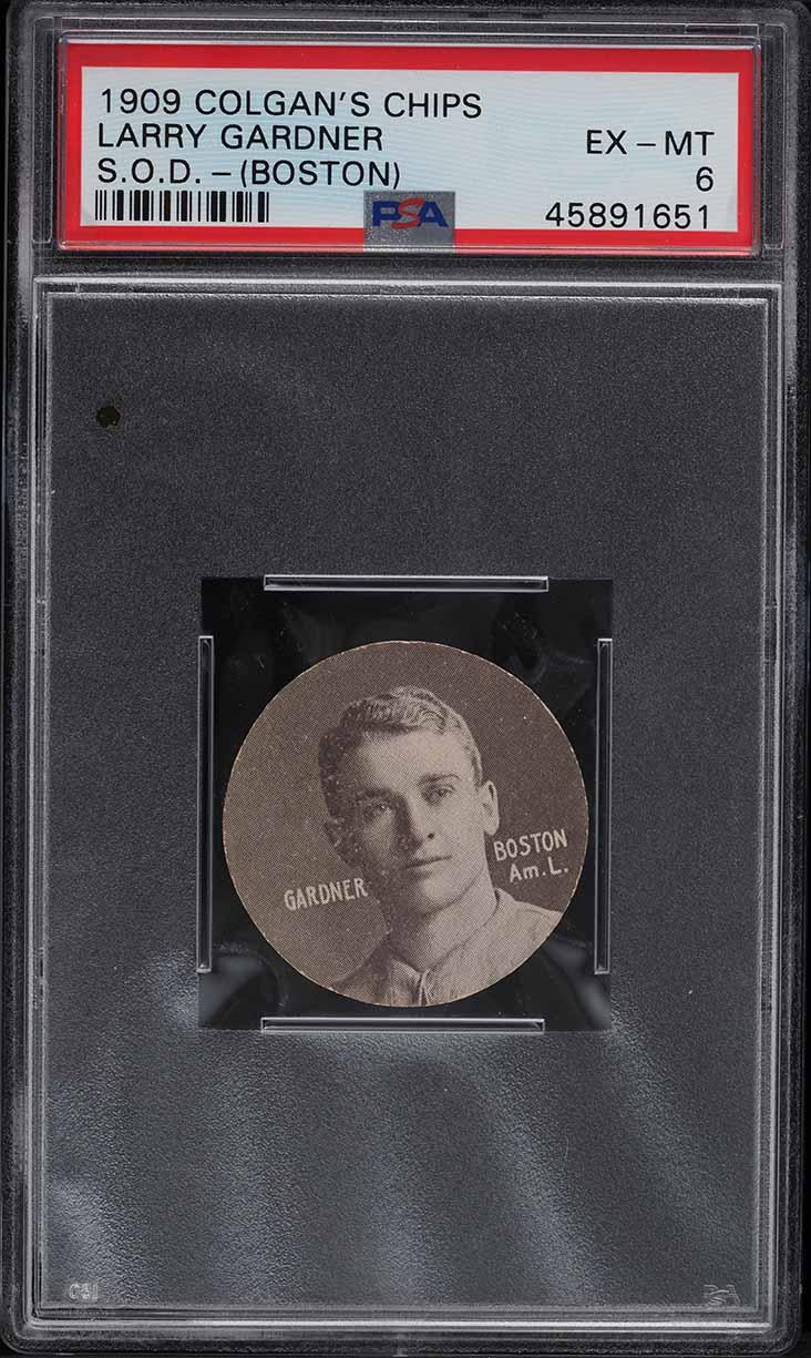 1909 Colgan's Chips Stars Of The Diamond Larry Gardner BOSTON PSA 6 EXMT - Image 1