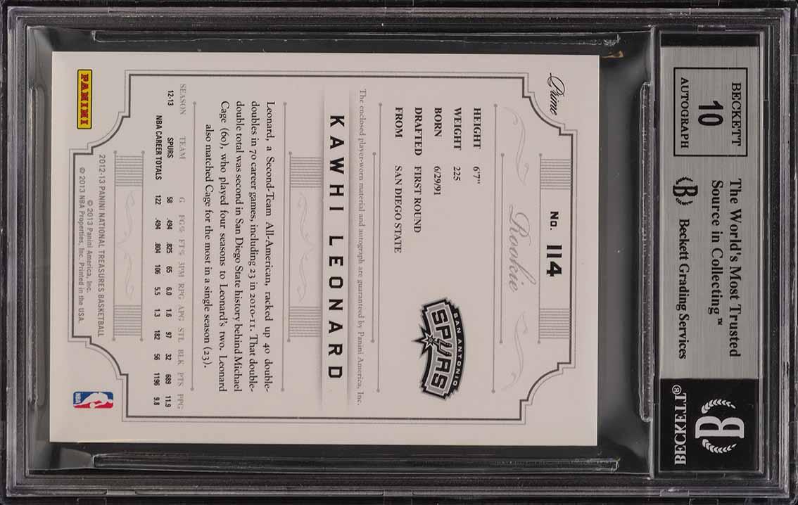 2012 National Treasures Kawhi Leonard ROOKIE RC PATCH AUTO /199 BGS 9 (PWCC) - Image 2