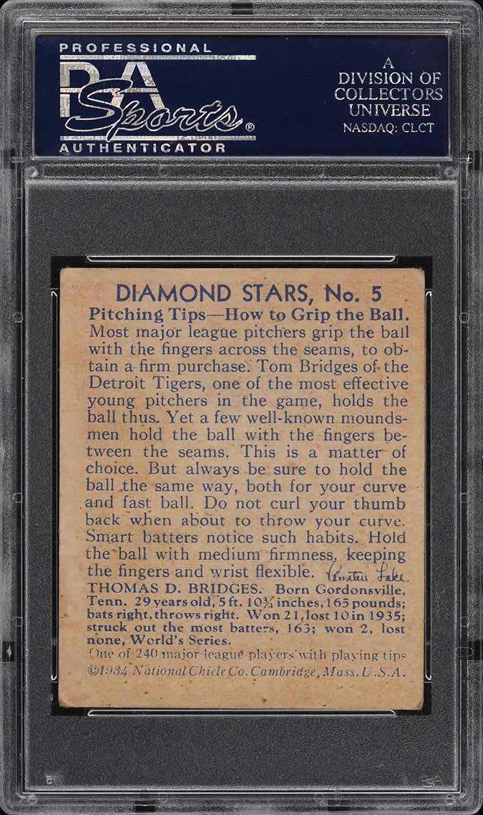 1936 Diamond Stars Tom Bridges #5 PSA 4 VGEX - Image 2