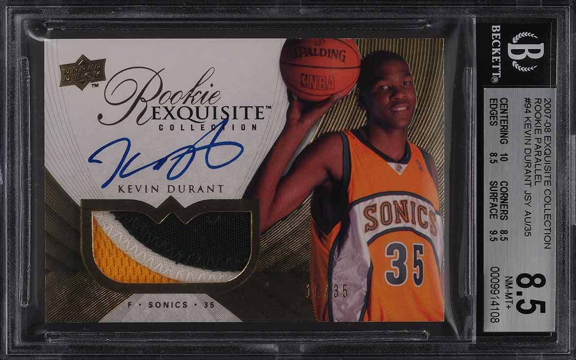 2007 Exquisite Parallel Kevin Durant ROOKIE PATCH AUTO /35 BGS 8.5 NM-MT+ (PWCC) - Image 1