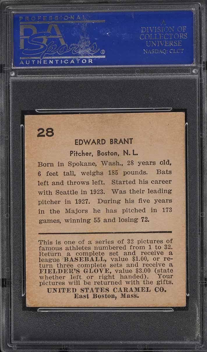 1932 U.S. Caramel Edward Brandt #28 PSA 3 VG - Image 2