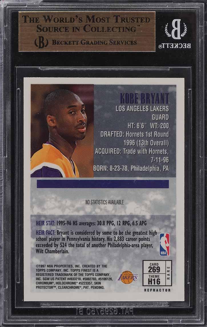 1996 Finest Gold Refractor Kobe Bryant ROOKIE RC #269 BGS 10 PRISTINE (PWCC) - Image 2