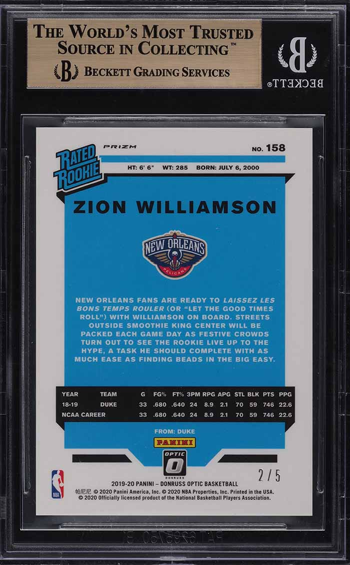2019 Donruss Optic Green Zion Williamson ROOKIE RC /5 #158 BGS 9.5 GEM MT (PWCC) - Image 2