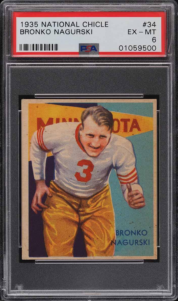 1935 National Chicle Football Bronko Nagurski ROOKIE RC #34 PSA 6 EXMT - Image 1