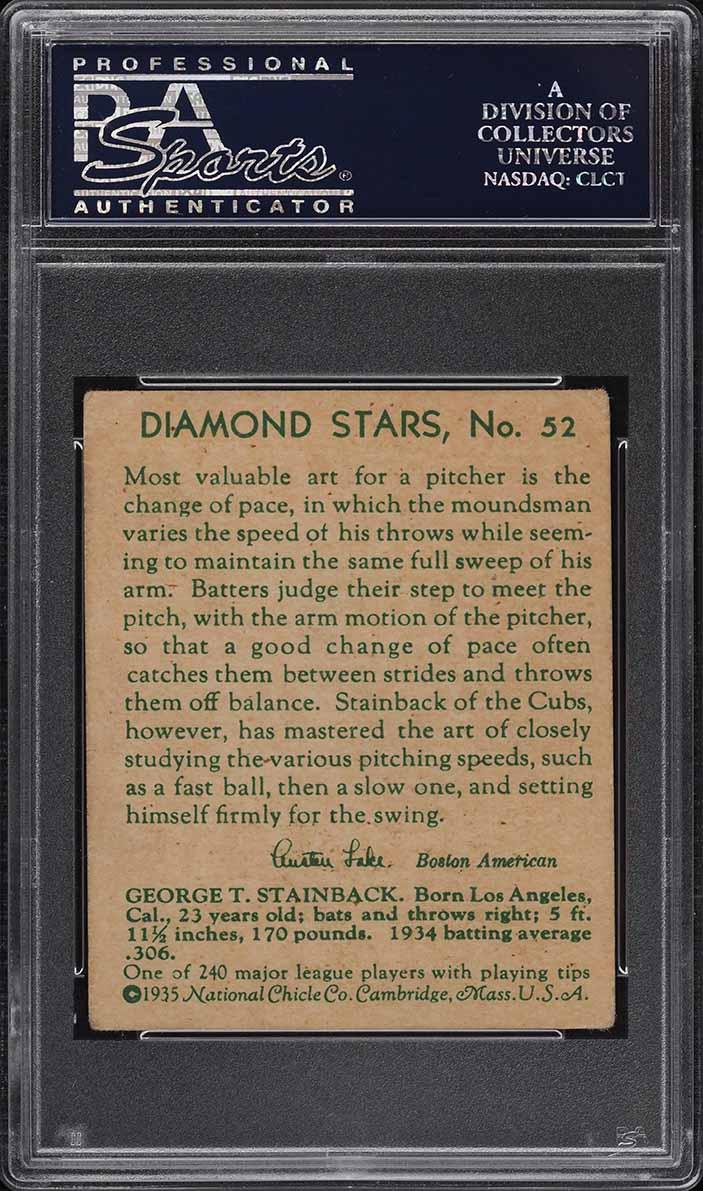 1935 Diamond Stars George Stainback #52 PSA 3 VG - Image 2