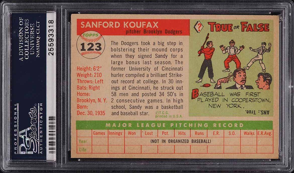 1955 Topps Sandy Koufax ROOKIE RC #123 PSA 8 NM-MT - Image 2