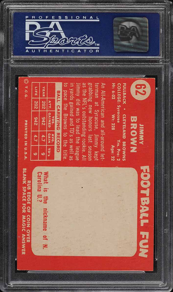 1958 Topps Football Jim Brown ROOKIE RC #62 PSA 8 NM-MT - Image 2
