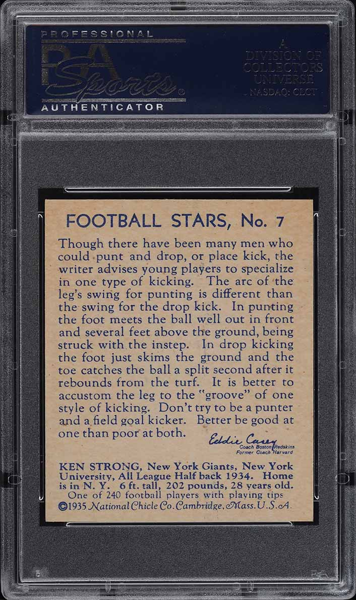 1935 National Chicle Football Ken Strong ROOKIE RC #7 PSA 8 NM-MT (PWCC) - Image 2