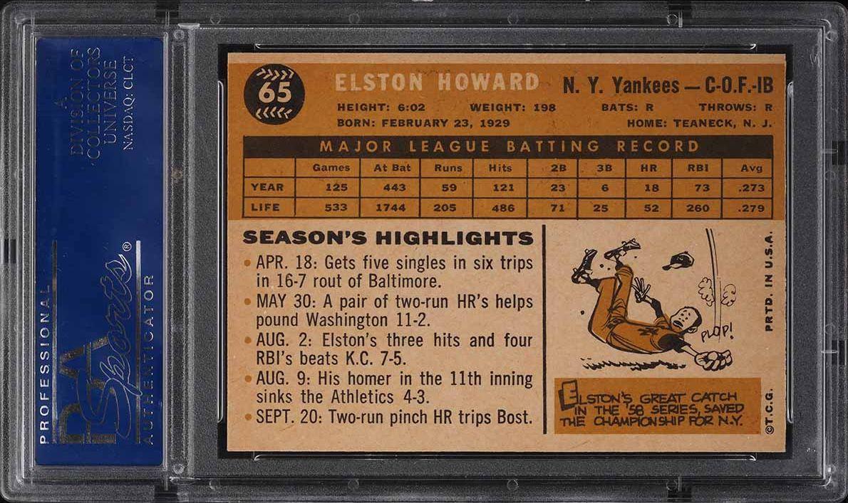 1960 Topps Elston Howard #65 PSA 8 NM-MT - Image 2