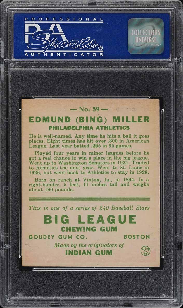 1933 Goudey Bing Miller #59 PSA 7 NRMT (PWCC) - Image 2